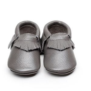 Other - Gray leather soft sole baby toddler moccasins